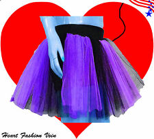 Plus Size Purple Black Tutu Skirt Gothic Goth Dark Costume Halloween Christmas