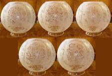 "FLORAL (5) FIVE SCENE GAS LAMP SHADE 4"" fitter etched glass oil, ball"