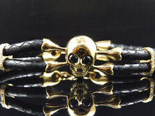 Mens Yellow Gold Finish Simulated Lab Diamond Skull Leather Band Bracelet In 8In