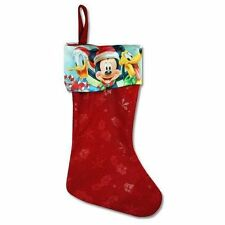 "Mickey Mouse & Friends 18"" Felt Christmas Stocking With Satin Cuff - New"