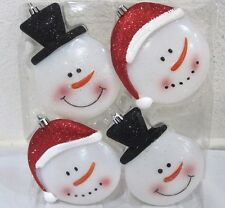 Christmas Snowman Glitter Large Plastic Ornaments Decorations Decor Set of 4