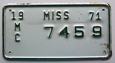Mississippi 1971 MOTORCYCLE License Plate NICE QUALITY # 7459