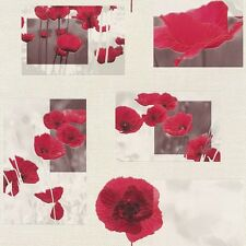 RASCH FLORAL POPPY RED MOTIF PHOTO EMBOSSED VINYL WALLPAPER