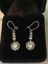 SPARKLY, ELEGANT, EDWARDIAN, 9 CT GOLD/SILVER EARRINGS WITH DIAMOND CUT PASTE