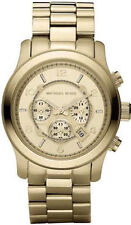 New Michael Kors MK8077 Men's Runway Oversized Gold Tone Chrono Watch 45mm