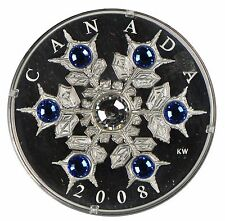2008 Canada $20 Silver Coin - Crystal Snowflake - Sapphire Crystal Version