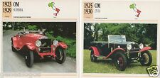 2 FICHES AUTOMOBILE ITALIA CAR OM SUPERBA 15/60 1923-1930