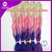 Purple Pink Ombre Kanekalon Jumbo Braiding Synthetic Hair Extension Twist Braids