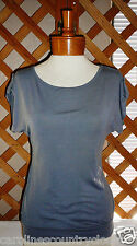 CANDY RAIN KNIT TOP~Gray~Scoop Neck~Cuff Up Sleeves~Junior Size Small~FREE SHIP