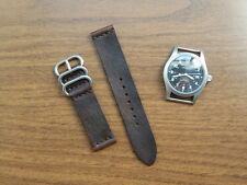 Horween Bark Brown Dublin Leather 2-piece Military Style Watch Strap Band 20mm