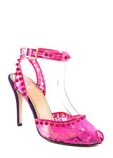 NEW CHARLOTTE OLYMPIA Soho Neon Pink Lace Studded Peep Toe Pumps 36 6 $1195