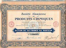 Lot Action au porteur - Société Alsacienne de Produits Chimiques - 1929