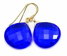 Sapphire Earrings Blue AAA Kashmir Sim large Faceted dangle 14k Gold Filled