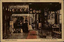 Broek in Waterland Holland Briefkaart ~1920/30 Interieur van het Broeker huis