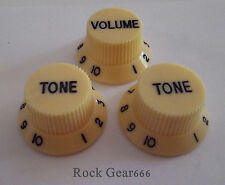 Set of 3 Stratocaster Knobs - 1 Volume, 2 Tone Will fit Most Guitars (CREAM)