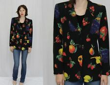 Emanuel Ungaro Paris Black FRUIT Novelty Print Silk Blazer Jacket Italy~42~M