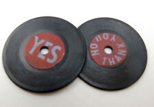 """Vintage Miniature 45 Record """"No Thank You"""" & """"Yes"""" Doll House, Barbie, Key Chain"""