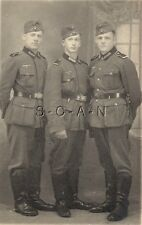 WWII German RP- Portrait- Army Soldier- Uniform- Overseas Hat- Three Friends