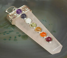 Tibetan Silver & Rose Quartz Multi Crystal All-Chakra Pendant, Reiki Blessed