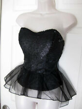 BEBE BLACK SEQUIN BUSTIER PEPLUM NEW NWT TANK TOP BLOUSE $98 MEDIUM M