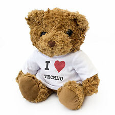 NEW - I LOVE TECHNO - Teddy Bear Cute Cuddly - Music Gift Present Birthday Xmas