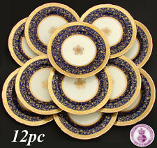 RARE 12pc Antique 1892 MINTON Dinner Plate Set, Raised 18k Gold Enamel on Cobalt