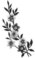 Flowers  - Black, Gray, Silver -  Embroidered Iron On Applique Patch - Left