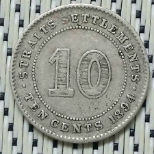 Straits Settlements - 1894 - 10 Cents Victoria Silver #CBSS