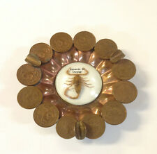 Vintage Durango Mexico Copper Ashtray Peso Glass Bubble Scorpion Calendar