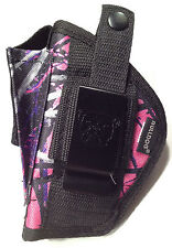 Ruger LC 9 | Muddy Girl Nylon Gun Holster OWB Pink Purple Camo | Use L or R Hand