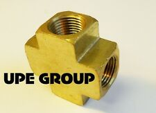 """BRASS PIPE CROSS 4 Way Fitting 3/8"""" Female NPT Pipe Thread Fuel Air Water"""