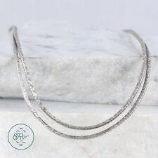 "Sterling Silver | 2mm Omega Chain Duo 13.6g | Necklace (15.5"") KV6523"