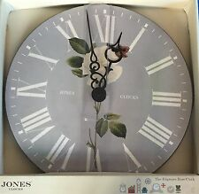 Beautiful Grey And White Rose Wall Clock Romantic Numerals