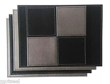 4 DOUBLE SIDED PLACEMATS AND COASTERS 4 OF EACH FAUX LEATHER BLACK/GREY