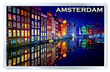 AMSTERDAM AT NIGHT FRIDGE MAGNET SOUVENIR IMAN NEVERA