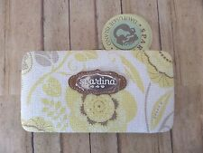 Spartina 449 Clutch Wallet Yellow + Taupe Floral Hardcover Organizer New/Tags