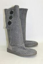 UGG AUSTRALIA Ladies Grey Chunky Cable Knit Side Button Boots Size UK5 EU38