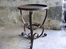 Beau Guéridon en fer forgé ancien, table d'appoint, diamètre 38 cm