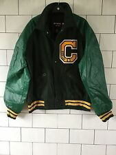 USA VINTAGE RETRO LETTERMAN GREEN LEATHER LOOK SLEEVE VARSITY JACKET BOMBER COAT