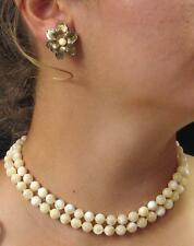 """VINTAGE PRETTY Mother of Pearl  KNOTTED 8mm BEAD NECKLACE 17"""" & EARRINGS SET"""
