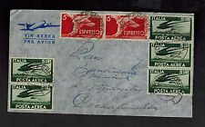1946 Rome Italy Cover to Czechoslovakia Express Airmail
