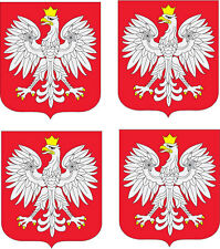 THE WHITE EAGLE POLAND COAT OF ARMS - Polish Vinyl Sticker 9cm x 10cm each x 4