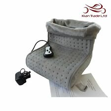 BEIGE ELECTRIC HEATED FOOT MASSAGER WARMER COMFORT WINTER FLEECE SUEDE COMFY