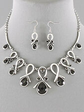 Black Lucite Bead Silver Tone Necklace Earrings Set Bib Statement New Jewelry