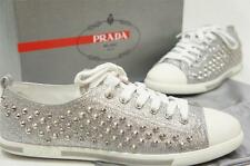 PRADA GLITTER STUDDED SILVER LOW PROFILE LEATHER SNEAKERS SHOES 36.5/6.5 $550