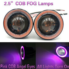 """2.5"""" COB White LED Fog Driving Light Pink Halo Angel Eyes Projector DRL Bulbs"""