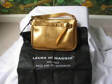 Laura Di Maggio Milano Gold Leather Clutch Handbag Purse NWT