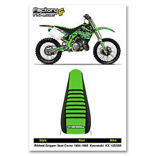 1994-1998 KAWASAKI KX 125-250 SEAT COVER Black/Green/Black Ribs by Enjoy Mfg