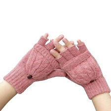 Women Winter Warm Cable Knit Thermal Converter Fingerless Gloves Flip Top Gloves