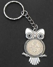 1957 60th birthday lucky Sixpence Owl Charm key ring + present box wedding gift